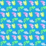 Teste padrão com as flores no azul Fotos de Stock Royalty Free