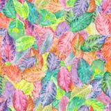 Teste padrão com as folhas de outono da aquarela Fotos de Stock Royalty Free