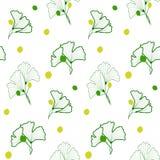 Teste padrão com as folhas no branco Imagens de Stock Royalty Free