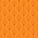 Teste padrão com as lanternas chinesas vermelhas Foto de Stock