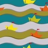 Teste padrão com barcos de papel applique Fotografia de Stock Royalty Free