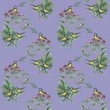 Teste padrão com bardana e pássaros foto de stock royalty free
