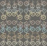 Teste padrão com bicicletas retros Imagem de Stock Royalty Free