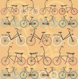 Teste padrão com bicicletas retros Fotos de Stock Royalty Free