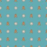 Teste padrão com boneca e flocos de neve do pão-de-espécie Fotografia de Stock