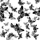 Teste padrão com borboletas Fotos de Stock