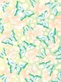 Teste padrão com borboletas e as flores coloridas Fotos de Stock Royalty Free