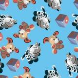 Teste padrão com cão dos desenhos animados e cubo da vaca Fotografia de Stock