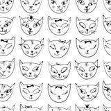 Teste padrão com cabeças tiradas mão dos gatos Fundo esboçado Mão sem emenda tirada pelo fundo fino do forro ilustração royalty free
