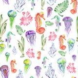 Teste padrão com cavalos marinhos da aquarela, medusa e alga (algas) ilustração do vetor