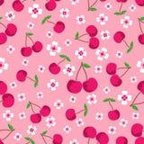 Teste padrão com cerejas e flores ilustração do vetor