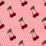 Teste padrão com cerejas e folhas no fundo pontilhado Imagem de Stock
