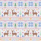 Teste padrão com cervos, árvores e flocos de neve Fotos de Stock