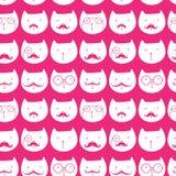 Teste padrão com coelhos bonitos e gatos Imagens de Stock Royalty Free