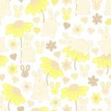 Teste padrão com coelhos e flores Imagens de Stock