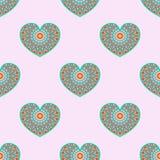 Teste padrão com corações Fotografia de Stock Royalty Free