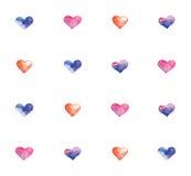 Teste padrão com corações da aquarela Imagem de Stock Royalty Free