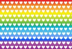 Teste padrão com corações em fundos coloridos, vetor Imagens de Stock