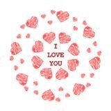 Teste padrão com corações vermelhos abstratos no estilo étnico para tirar Fotografia de Stock Royalty Free