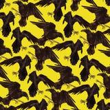 Teste padrão com corvos pretos Fotografia de Stock