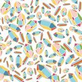 Teste padrão com cristais multi-coloridos muitos cristais em um fundo branco Imagem de Stock