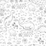 Teste padrão com dinossauros ilustração do vetor