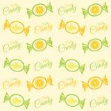 Teste padrão com doces do citrino, doces e inscrição dos doces Imagem de Stock Royalty Free