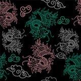 Teste padrão com dragões de Japão ilustração do vetor