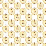 Teste padrão com fatia 2 da maçã Teste padrão sem emenda da aquarela Imagem de Stock Royalty Free