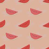 Teste padrão com fatias da melancia Imagens de Stock