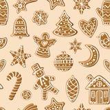 Teste padrão com figuras do pão-de-espécie Imagens de Stock Royalty Free