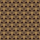 Teste padrão com a flor do ouro no fundo preto Fotos de Stock Royalty Free