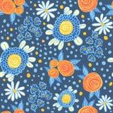 Teste padrão com flores Fotografia de Stock Royalty Free