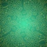Teste padrão com flores e folhas dos esboços Imagem de Stock Royalty Free