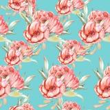 Teste padrão com flores vermelhas Foto de Stock Royalty Free