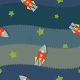 Teste padrão com foguetes, estrelas, applique ilustração royalty free