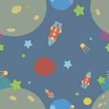 Teste padrão com foguetes, estrelas, cosmos Imagem de Stock Royalty Free