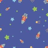 Teste padrão com foguetes, estrelas, cosmos Imagens de Stock