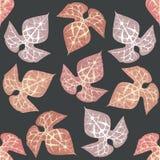 Teste padrão com folhas decorativas Imagens de Stock Royalty Free