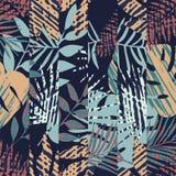 Teste padrão com folhas tropicais Imagem de Stock