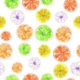 Teste padrão com frutos cristalizados coloridos da aquarela Fotografia de Stock Royalty Free