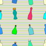 Teste padrão com garrafas Fotografia de Stock