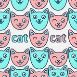Teste padrão com gatos de sorriso Caras cor-de-rosa e azuis dos gatos Imagens de Stock Royalty Free