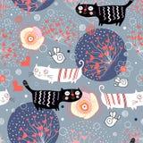 Teste padrão com gatos e corações Imagens de Stock