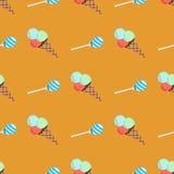 Teste padrão com gelado e doces Fotografia de Stock Royalty Free