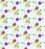 Teste padrão com gelado, o queque, o pirulito e círculos coloridos Fotografia de Stock Royalty Free