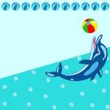 Teste padrão com golfinho dos desenhos animados Imagem de Stock