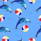 Teste padrão com golfinhos Fotografia de Stock Royalty Free
