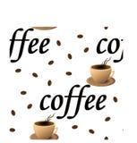 Teste padrão com grões e uma xícara de café no vetor EPS ilustração do vetor