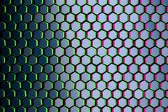 Teste padrão com hexágonos azuis com bordas verdes e roxas ilustração do vetor
